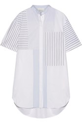 3.1 Phillip Lim Patchwork Striped Cotton Poplin Mini Shirt Dress White