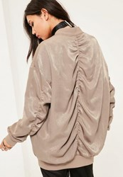 Missguided Brown Ruched Back Bomber Jacket Mink