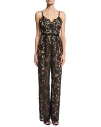 Catherine Deane Lace Cami Strap Jumpsuit Black Almond Black Ivory