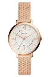 Fossil Jacqueline Mesh Strap Watch 36Mm Rose Gold Silver Rose Gold