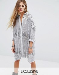 Religion Oversized Longline Shirt In Silver Sequin Silver