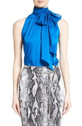 St. John Women's Collection Stretch Silk Charmeuse Halter Tie Blouse