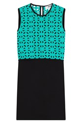 Msgm Cotton Sheath Dress With Crochet Top Multicolor