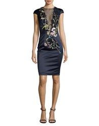 Mandalay Mesh Neckline Sheath Dress Navy