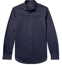 Berluti Slim Fit Cotton Twill Shirt Storm Blue