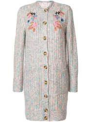 Red Valentino Floral Embroidered Cardigan Polyamide Polyester Viscose Metallic Fibre Xs Blue