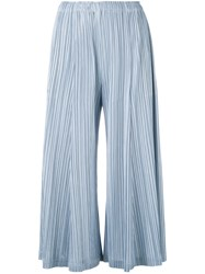 Issey Miyake Pleats Please By Pleated Wide Leg Trousers Women Polyester S Blue