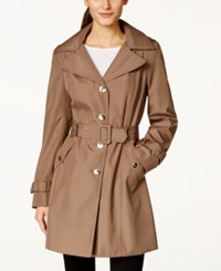 Calvin Klein Hooded Single Breasted Trench Coat Truffle