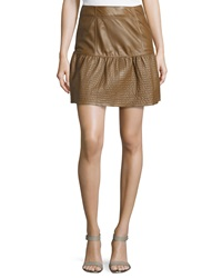 Red Valentino Pleated Fit And Flare Lambskin Skirt Bark