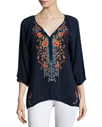 Johnny Was Olivia 3 4 Sleeve Embroidered Blouse Women's