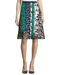 Oscar De La Renta Mixed Floral Patchwork Skirt Navy Multi