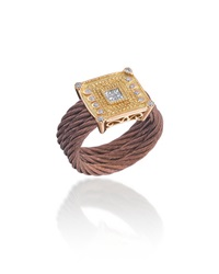 Alor Petra 18K Rose Gold Cable And Diamond Ring