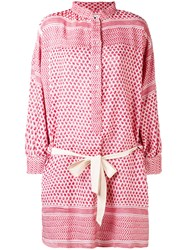 Rough Studios Multi Pattern Belted Shirt Dress Women Cotton One Size Red