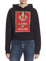 Each X Other Embroidered La Poesia Cotton Hoodie Black
