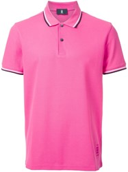 Kent And Curwen Striped Collar Polo Shirt Pink Purple