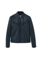 Mango Leather Aviator Jacket Navy