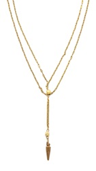 Vanessa Mooney Long Nights Double Chain Dagger Necklace Gold