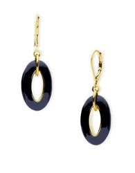 Anne Klein Dual Toned Round Drop Euro Wire Earrings Black