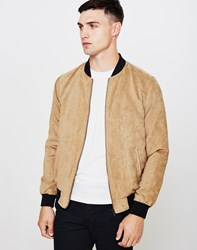The Idle Man Faux Suede Bomber Jacket Camel