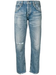 Citizens Of Humanity Straight Leg Distressed Jeans Blue
