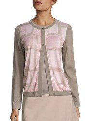 Piazza Sempione Square Printed Cardigan Powder Pink