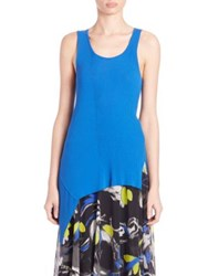 Fuzzi Asymmetrical Solid Knit Tank Deep Blue