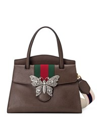 Gucci Linea Totem Medium Leather Top Handle Bag With Butterfly And Web Strap Dark Brown