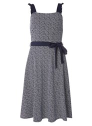 Dorothy Perkins Tall Navy Spotted Ruffle Sundress With Belt Blue