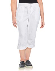 Lord And Taylor Plus Solid Cotton Blend Capri Pants White