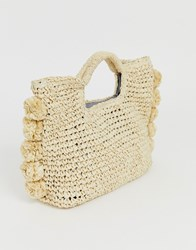 Hat Attack Pom Straw Clutch Tan