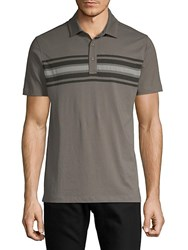 Saks Fifth Avenue Striped Front Cotton Polo Grey Navy