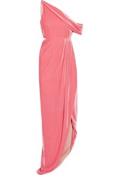Monse One Shoulder Cutout Velvet Gown Baby Pink