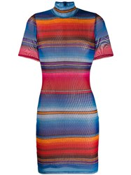 House Of Holland Striped Fitted Mini Dress Blue
