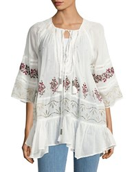 Free People You're Mine Embroidered Peasant Tunic Ivory Multi