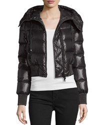 Moncler Sotiria Shiny Hooded Puffer Coat Black