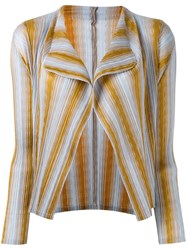 Issey Miyake Pleats Please By Striped Cardigan Women Polyester 4 Nude Neutrals