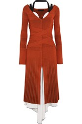 Proenza Schouler Plated Knit And Stretch Silk Midi Dress Orange