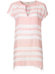 Lemlem Horizontal Stripes Tunic Dress Pink
