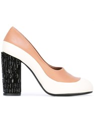 Marni Crystal Embellished Heel Pumps Nude Neutrals