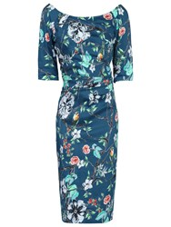Jolie Moi Retro Floral Print Half Sleeve Dress Teal Floral
