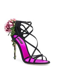 Dolce And Gabbana Rose Strappy Sandals Black Pink