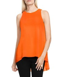 Vince Camuto Sleeveless Chiffon Overlay Blouse Orange