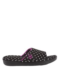 Isotoner Dot Patterned Slide Slippers Black White