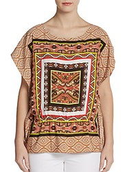 Ellen Tracy Scarf Print Cap Sleeve Top Cashew Multi