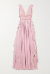 Costarellos Lace Trimmed Silk Georgette Gown Blush