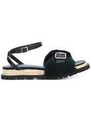 Sacai Buckle Jute Sandals Blue