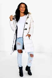 Boohoo Quilted Faux Fur Hood Parka White