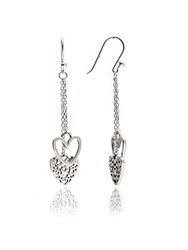 Chavin Silver Heart Dangle Earrings Silver