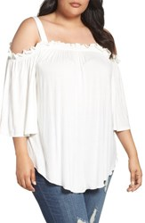 Melissa Mccarthy Seven7 Plus Size Women's Cold Shoulder Top Off White Egret