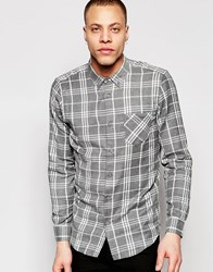Pull And Bear Pullandbear Checked Shirt In Grey Regular Fit Grey